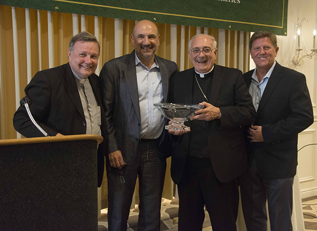 Ed Mafoud recipient of the 2019 Lay Honoree Award with Monsignor Kieran Harrington, Bishop Nicholas DiMarzio and Bill Maier.