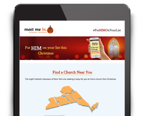 screen shot of Find a Church page on Meet Me in Church