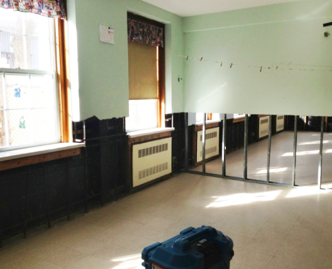 damaged classroom after Hurricane Sandy